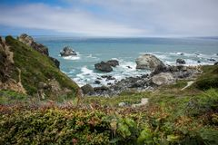 View of the Pacific Ocean at Patrick`s Point State Park near Trinidad, California stock photo