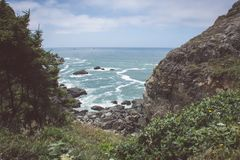 View of the Pacific Ocean at Patrick`s Point State Park near Trinidad, California stock photography