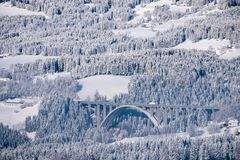 View from Pack to autobahn A2 bridge in winter wonderland. View from Pack to bridge of autobahn A2 in a snow covered wonderland in carinthia in Austria stock images