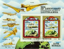 Spectacular postage stamps. View of a page of postage stamps with pictures of Airplanes stock images