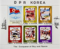 Spectacular postage stamps. View of a page of postage stamps with pictures of Airplanes royalty free stock photos