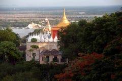 View of Pagoda and Ayeyarwady river from Sagaing h Stock Photo