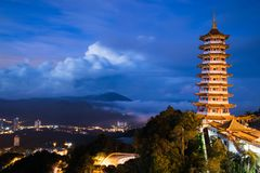 View of the Pagoda in the morning with low level cloud and hills in the background. The view was amazing stock images