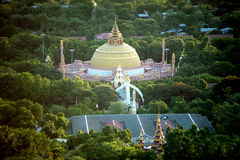 View of Pagoda from Sagaing hill,Myanmar. Royalty Free Stock Image