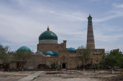 View of  Pahlavon Mahmud Mausoleum and Islam Khodja minaret, Khi Stock Photography