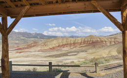 View of Painted hills from nearby prospector cottage Stock Photography