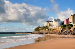 View of painted houses at Tenby,from Castle Beach. Royalty Free Stock Image