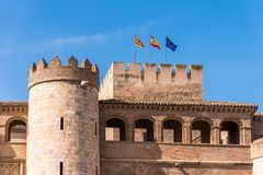 View of the palace Aljaferia, built in the 11th century in Zaragoza, Spain. Copy space for text. Royalty Free Stock Photos