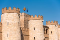 View of the palace Aljaferia, built in the 11th century in Zaragoza, Spain. Copy space for text. Royalty Free Stock Image
