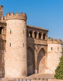 View of the palace Aljaferia, built in the 11th century in Zaragoza, Spain. Vertical. Copy space for text. Royalty Free Stock Photography