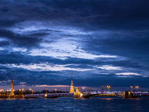 View of Palace Bridge and Peter and Paul Fortress, Neva River, St. Petersburg, Russia Royalty Free Stock Photo