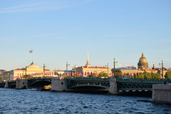 View of Palace bridge, Saint Isaac's Cathedral and the Admiralty Stock Photos