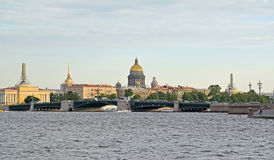 View of the Palace Bridge, St. Isaac's Cathedral, Admiralty in ty in the summer evening. St. Petersburg Stock Images