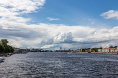 View from the Palace Bridge to the Neva River towards the port. St. Petersburg. Russia royalty free stock images