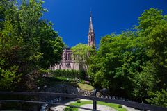 View from palace of El Capricho by the architect Gaudi, Comillas Stock Photos