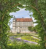View of Palace of Güstrow Germany throu pergola. View of Palace of Güstrow Germany throu pergola - HDR image Stock Photography