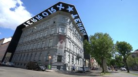 House of terror in Budapest. View of the palace home of the house of terror in Budapest, Hungary stock footage