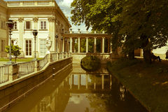 View on the Palace. Lazienki park - Royal Baths Park in Warsaw stock images