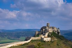 View of the palace part of the Spis castle from the south in the morning in early spring with cloudy sky. Windy cloudy weather in the Spis region of Slovakia in stock photo