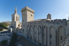 Palace of the Popes of Avignon roof - Camargue - Provence - France royalty free stock images