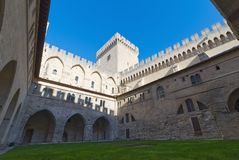 Palace of the Popes of Avignon - Camargue - Provence - France. View of Palace of the Popes and Cathedral of Avignon - Camargue - Provence - France Royalty Free Stock Photos