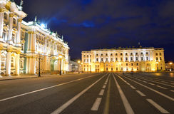 View of Palace Square at night. Stock Image