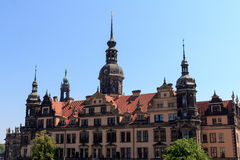 View from palace Zwinger towards Dresden Castle Royalty Free Stock Photography