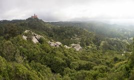 View of Palacio da Pena from Castello dos Mouros royalty free stock images