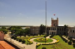 View of Palacio Lopez in Asuncion, Paraguay. Palacio de López (Spanish for Palace of the Lopez) is a palace in Asuncion, Paraguay, that serves as workplace for Royalty Free Stock Photography