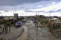 View of the Palafitic Dock of Carrasqueira, near Comporta, in Portugal stock photography