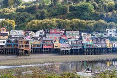 Palafitos houses in Castro city in Chiloe Island. View of the palafitos houses in Castro city in Chiloe Island,detail of the colour and construction, chilean Stock Photos