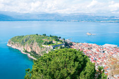 View from Palamidi castle in Nafplio. Panoramic view from Palamidi in Nafplio Royalty Free Stock Image