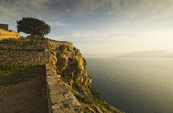 View of Palamidi. View of the sunset from Palamidi in Nafplion stock photography