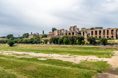 View of Palatine Hill and Imperial Palace from Circus Maximus - Rome, Italy Stock Photo