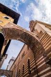 View at the Palazzo della Ragione and Arco della Costa in Verona, Italy royalty free stock photo
