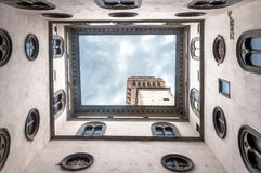 View of Palazzo Vecchio from courtyard in Florence, Italy Stock Images