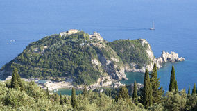 View at Paleokastrica monastery at Corfu Greece. Ionian sea Stock Photos