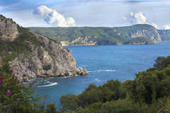 View of Paleokastritsa bay from above Royalty Free Stock Photography