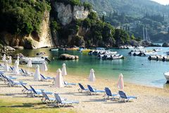 Paleokastritsa harbor and Alipa beach royalty free stock photos