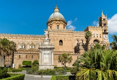View of Palermo Cathedral with Santa Rosalia statue, Sicily Stock Images