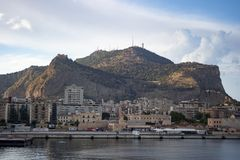 View Palermo. Landscape Palermo montepellegrino, photo taken from a ship leaving the port - sicily, Italy royalty free stock images
