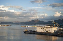 View Palermo port. Landscape Palermo `the Port`, photo taken from a ship leaving the port - sicily, Italy royalty free stock photos