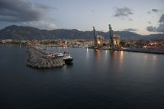 View Palermo port. Landscape Palermo `the Port`, photo taken from a ship leaving the port - sicily, Italy stock image