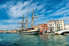 View of the Palinuro moored in Venice, Italy Stock Photos