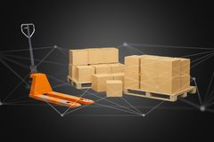 Pallet truck and carboxes with network connection system - 3d re Stock Photos