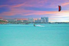 View on Palm Beach at Aruba island at sunset. View on Palm Beach at Aruba island in the Caribbean Sea at sunset Stock Photo