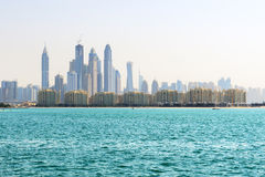 The view from Palm Jumeirah man-made island on Dubai city Royalty Free Stock Images