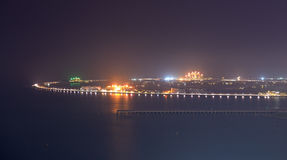 View on Palm Jumeirah man-made island in night illumination. Dubai, UAE Royalty Free Stock Image