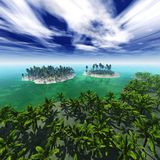 View of palm trees on the sea, tropical islands, the archipelago, beach with palm trees. View of palm trees on the sea, an island in the ocean, palm trees in the Stock Image