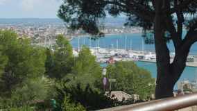 View of Palma de Majorca from Bellver castle on sunny day suitable for travelling. View of Palma de Majorca from Bellver castle on sunny day stock video footage